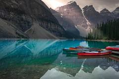 Morning Canoe (ChiDitty) Tags: canoe canada canadian canadianrockies banff banffnationalpark jaspernationalpark morainelake moraine lake alberta national park nationalpark lakeview glacier rockies