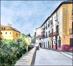 Carrera Del Darro (Dr Graham Beards) Tags: albaicin andalucia alhambra granada carreradeldarrogranadawatercolor townscape darro watercolor watercolour spain