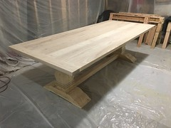 """Savannah"" French Trestle Table (Ocean West Designs) Tags: woodworking furnituredesign customfurniture woodshop woodworker dining table diningtable farmhousefurniture farmhousetable farmhousestyle"