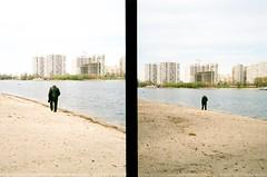 offside2019. kyiv. (Yaroslav F.) Tags: landscape urban dyptych halfframe half frame analog 35mm film photography yaroslav futymskyi kyiv river dnipro sand beach alone spring kodak color 200
