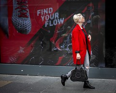 Red Is The New Black (Leanne Boulton) Tags: candid streetphotography people red urban street portrait candidstreetphotography streetportrait candidportrait streetlife juxtaposition woman female girl face expression mood emotion atmosphere colourful bright black contrast blonde style fashion hairstyle stylish tone texture detail advertising display screen naturallight outdoor light shade city scene human life living humanity society culture lifestyle canon canon5dmkiii 70mm ef2470mmf28liiusm color colour glasgow scotland uk