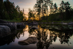 Sunrise (mabuli90) Tags: finland lake water river creek forest tree sunrise dawn morning sky clouds long exposure suomi nature landscape rock reflection