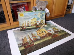 Look! A reel ole Ravunsberger pussle! (pefkosmad) Tags: jigsaw puzzle hobby leisure pastime used secondhand complete vintage 1000pieces ravensburger frigateintheportofamsterdam painting art abrahamstorck tedricstudmuffin ted teddy bear animal toy cute cuddly fluffy plush soft stuffed