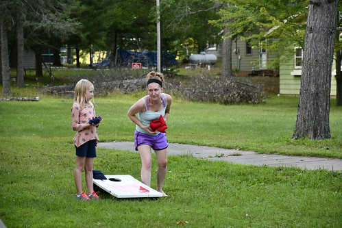 Lily and Cassie playing Baggo
