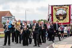 Thurcroft Welfare Brassband Marching through Thornley (Cerdic Elesing) Tags: kodakektar england banner marching thurcroftband performing countydurham brassband thornleylodge durhamminersassociation thornley object xequals