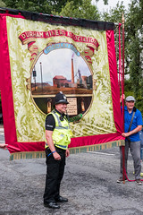 Durham  Miners Gala 2019 (Cerdic Elesing) Tags: policeman durhamminersassociation thornleylodge countydurham england durham banner posing object