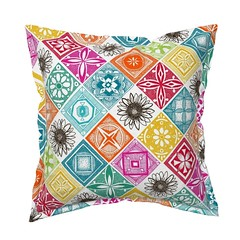 azulejos roostery throw pillow (Scrummy Things) Tags: sharonturner tiles color colour flower portugal spain portuguese illustration colorblock squares diamonds shapes spoonflower roostery throwpillow decor pillow cushion