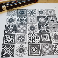 azulejos WIP 11072019 (Scrummy Things) Tags: sharonturner tiles flower portugal spain portuguese illustration colorblock squares diamonds shapes wip workinprogress drawing pen ink paper spoonflower