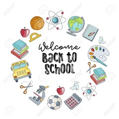 Welcome back to school vector illustration. Colorful sketch of school supplies isolated on a white background. (yiivssiu56) Tags: school back vector background illustration design education pencil supplies paper pen text notebook elementary template art book 3d icon yellow ruler scissors hand poster set circle welcome element graphic doodle lettering sketchy color symbol handdrawn books schoolbus apple calculator soccer sports globe world basketball microscope science sketch elements cartoon isolated