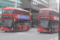 ML LT767 and AL LT529 @ Warren Street tube station (ianjpoole) Tags: metroline london wright borismaster ltz1767 lt767 arriva ltz1529 lt529 working route 73 holles street oxford circus stoke newington common 24 grosvenor road pimlico royal free hospital hampstead heath respectively