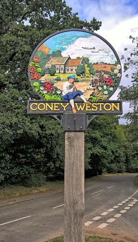 UK, Suffolk, Coney Weston Village Sign