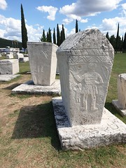Stecci Medievel Tombstones Graveyard, Croatia. On the Balkans there are 28 different Graveyards in 4 countries with this special limestone that are used as a Gravestone. This is now inscribed in UNESCO