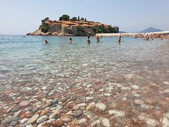 Sveti Stefan ad its pristine clear waters of the Adriatic.