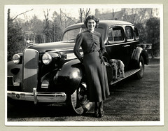 "1937 Cadillac Series 60 Sedan (Vintage Cars & People) Tags: white black classic cars car vintage photography photo automobile foto cadillac sw motor ""blackwhite"" woman dog lady thirties dress terrier caddy sedan series60 1937 1930s 30s pet stockings silkstockings"