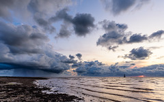 The Storm, the Lighthouse and the Sunset (Joe Hayhurst) Tags: lancashire landscape lighthouse ploverscar sunset clouds cloudscape storm rain cloudburst sea lune estuary