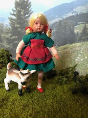 Heidi (Foxy Belle) Tags: scene alps mountains swiss german kids goats baby animal plastic toy schleich diorama 112 outside alpine plants grass turf model green summer spring doll girl caco vintage blonde peasant heidi