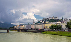 Salzburg, Austria (t.beckey) Tags: salzburg austria salzach salzachriver river castle building structure europe bridge clouds steeple view city architecture