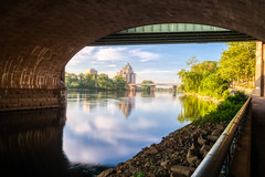 Hanging out in Hartford #9 (tquist24) Tags: bulkeleybridge connecticut connecticutriver foundersbridge hdr hartford hartfordbridge nikon nikond5300 outdoor riverwalknorth bridge city clouds geotagged longexposure morning reflection reflections river sky tree trees urban water