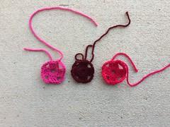 Two rounds of three future four-inch flamboyant granny squares (crochetbug13) Tags: crochet crocheted crocheting grannysquare crochetpurse crochetsquare scrapyarncrochet grannysquarepurse grannysquaretote crochettote