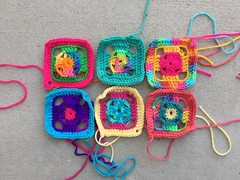 The first half-dozen four-inch flamboyant granny squares (crochetbug13) Tags: crochet crocheted crocheting grannysquare crochetpurse crochetsquare scrapyarncrochet grannysquarepurse grannysquaretote crochettote