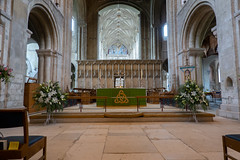 Lovely Flowers (Jocey K) Tags: triptoukanderoupe2019 june england uk architecture buildings christchurchpriory dorset church window stainglasswindow altar candles cross floor chairs flowers ceiling interior