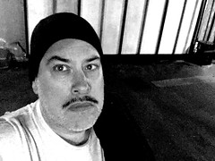 Day 2642: Day 86: In the garage (knoopie) Tags: blackandwhite 1920 garage 2019 march iphone selfportrait picturemail doug knoop knoopie me 365days 365daysyear8 year8 365more day2642 day86