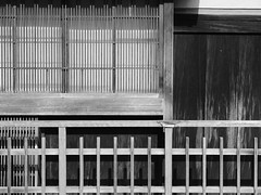 Wood Wall and Window (Nick Condon) Tags: abstract architecture blackandwhite fence japan kyoto olympus45mm olympusem10 shadow slats wall window wood