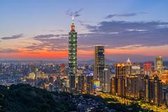 Sunset @ Taipei 101 Building (Jennifer 真泥佛 * Taiwan) Tags: taipei101 sunset 臺北101 夜景 颱風過後 夕陽 台灣 臺北 taipei landscape 101 building 象山 信義區