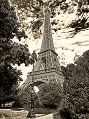 Eiffel Tower (JuliSonne) Tags: paris eiffeltower france steelconstruction landmark sightseeing nostalgic bw
