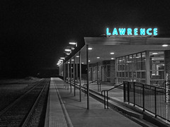 Lawrence Train Station (mix of color & b/w), 28 Dec 2018 (photography.by.ROEVER) Tags: kansas douglascounty lawrence eastlawrence trainstation station railstation railroadstation amtrak southwestchief lawrencetrainstation neonsign blueneon lawrenceinblueneon night evening nightphoto nightphotograph nightphotography december 2018 december2018 mix blackandwhite blackwhite bw color colour usa