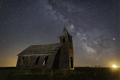 Blinded by the Light (Flint Roads) Tags: dooley mt milkyway montana rockyvalleyluthernchurch usa abandoned church decay deteriorated field forsaken ghosttown gothic light night nightsky old rural stars steeple windows wood