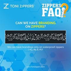 Can we have branding on Zippers? (tonizippers) Tags: tonizippers manufacturers manufacturer branding 3 4 5 wednesdaywisdom zipper industry toni zipperfaq faq wednesdaymotivation wednesday waterproof trend print look brand