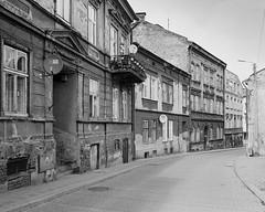 Tenement houses in Przemyśl (fotoswietokrzyskie) Tags: mamiya 7ii n43mm kodak tmax 400 przemyśl townhouses city analog medium format 6x7 monochrome blackandwhite architecture street