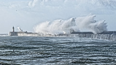 Newhaven Harbour (Croydon Clicker) Tags: storm wind waves water sea ocean harbour wall lighthouse spray runoff sky newhaven sussex eastsussex nikon sigma