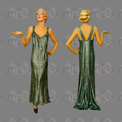 1930s Green and Silver Lamé Gown Dress with Fishtail Hem (Rickenbackerglory.) Tags: 1930s vintage siegel mannequin greensilver lamé gown dress fishtailhem