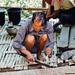 Man Cutting Bamboo in Home, Mindat Myanmar