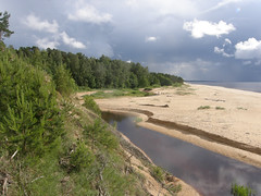 Inchupe River (olaf_alien) Tags: latvia saulkrasti baltakapa pabaži saulkrastunovads latvija landscape nature storm sea beach river sand water clouds forest inchupe olafalien olympus sp560uz