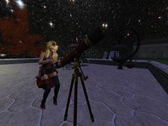 Nightly Observations (Cherie Langer) Tags: steampunk astronomy telescope night sky blonde goggles fantasy stars