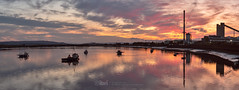 The Shore - 13 Aug 2019 - 03 (iBriphoto) Tags: alloaharbour photostitch sunset stirlingcastle theshore boats fishingboat river panorama panoramicstitch stirling oi alloa summer glassworks alloadocks riverforth evening goldenhour harbour panoramic sky stictched sunsets