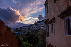 A view towards the mountains  HWW (Irina1010) Tags: building windows mountains view cloud sky light sunrise chefchaouen beautiuful morocco canon