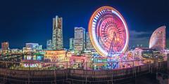 Yokohama Roof Garden Panorama (JIMI_lin) Tags: widescreen panorama longexposure 橫濱世界之窗 yokohamaworldporters 横浜ワールドポーターズ roofgarden 屋頂花園 japan tokyo 橫濱櫻木町 yokohama sakuragicho yokohamaminatomirai21港未來21 よこはまコスモワールド 横浜みなとみらい21 yokohamacosmoworld ferriswheel cosmoclock21 橫濱地標塔 minatomiraicenterbuilding 關內 kannai 神奈川縣 kanagawa 寬景 explore