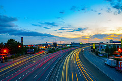 blue hour and trails (Paul wrights reserved) Tags: bluehour sunset sunsets light lighttrails experimentation leadinglines leading sky skyscape skyscapes colour colouredsky