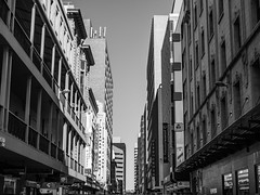Gawler Place (Anthony Kernich Photo) Tags: adelaide adelaidecbd southaustralia sa australia city urban downtown cityscape town cityview blackandwhite bw grayscale mono monochrome building architecture street symmetry vanishingpoint structure outdoor winter day afternoon rundlemall streetphotography olympus microfourthirds