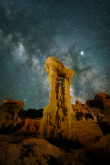 "The Milky Way and Jupiter over the ""Alien Throne"" hoodoo sandstone rock formation in the Valley of Dreams in the Ah-Shi-Sle-Pah Wilderness Study Area, New Mexico (diana_robinson) Tags: alientthrone milkyway valleyofdreams jupiter bistibadlands nightphotography nightsky stars sandstockrockformation hoodoo ahshislepah ahshislepahwildernessstudy offtrail scenic iconichoodoo ruggedbeauty remote noone nopeople volcanic newmexicobadlands newmexico ahshislepahwildernessstudyarea nikonflickraward abigfave"