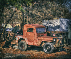 Custom Cab (* Gemini-6 * (on&off)) Tags: willys jeep truck red rust patina vehicle transportation vignette hdr vintage