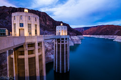 Twilight at Hoover Dam (Daren Grilley) Tags: hoover dam boulder city arizona nevada colorado river canyon lake mead nikon d850 20mm blue hour water hydroelectric engineering civil