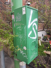 Green Electrical Box Graffiti (Indrid__Cold) Tags: electricalbox graffiti ruelle alley outremont montreal ruelles alleys tags electrical box vert green tag tagging pole alleyways alleway canada urban vs