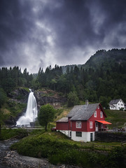 Nordheimsund (bjorns_photography) Tags: waterfall outdoor building weather clouds rain river red view