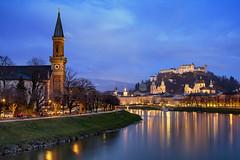 Salzburg Blues (JH Images.co.uk) Tags: salzburg austria river night architecture castle hdr dri hill illuminated clouds