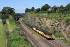 56049 + 56087 Horbury Cutting 23/7/19 (Ram 69) Tags: 56049 56087 robinoftemplecombe 6e32 colasrailfreight grids class56